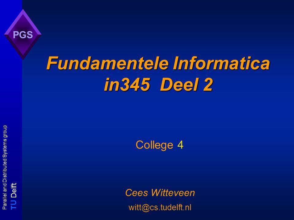 T U Delft Parallel and Distributed Systems group PGS Overzicht Reductiemethoden met voorbeelden - restrictie - local replacement - component design Een nieuwe klasse: co-NP - definitie - relatie met P, NP Optimaliseringsproblemen en de polynomiale hierachie - turingreducties, zoekproblemen