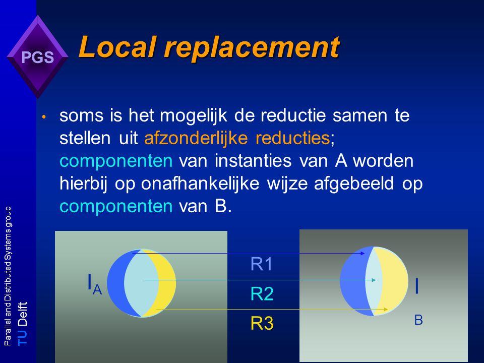 T U Delft Parallel and Distributed Systems group PGS Local Replacement: vb SAT  3-SAT: Laat (U,C) een SAT-instantie zijn en C = C 1  C 2  C 3  C >3 ( C i : aantal literals per clause is i ) de reductie R levert een instantie R(U,C) = (U', C')  3-SAT op met local replacement: R(U,C) = (R 0 (U), R 1 (C 1 )  R 2 (C 2 )  R 3 (C 3 )  R 4 (C >3 ) ) afzonderlijke reducties