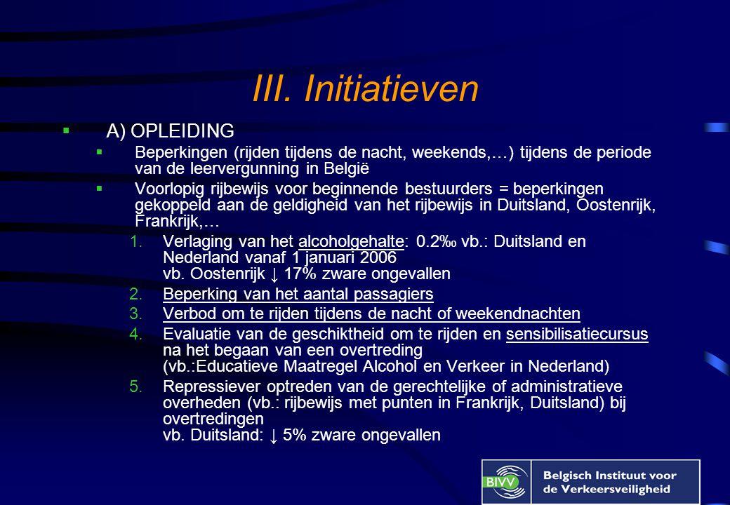 III. Initiatieven  A) OPLEIDING  Beperkingen (rijden tijdens de nacht, weekends,…) tijdens de periode van de leervergunning in België  Voorlopig ri