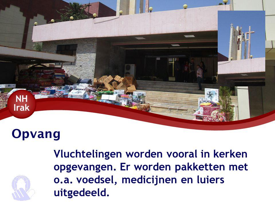 Opvang Vluchtelingen worden vooral in kerken opgevangen. Er worden pakketten met o.a. voedsel, medicijnen en luiers uitgedeeld.