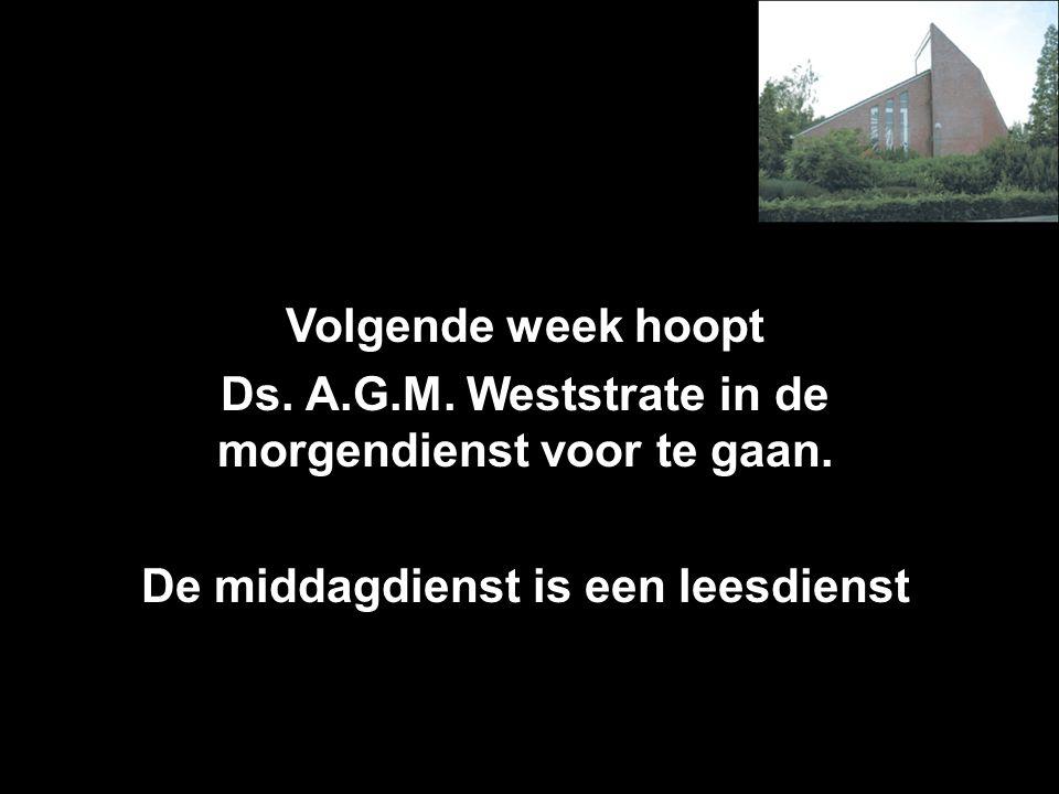 Volgende week hoopt Ds.A.G.M. Weststrate in de morgendienst voor te gaan.