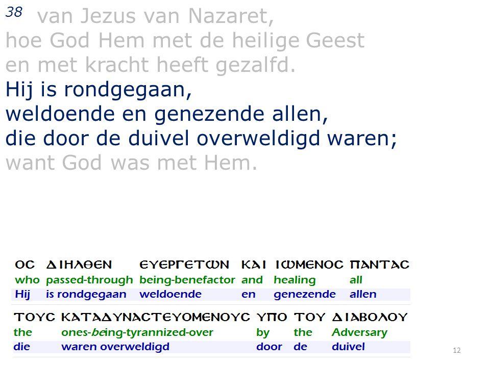 38 van Jezus van Nazaret, hoe God Hem met de heilige Geest en met kracht heeft gezalfd.