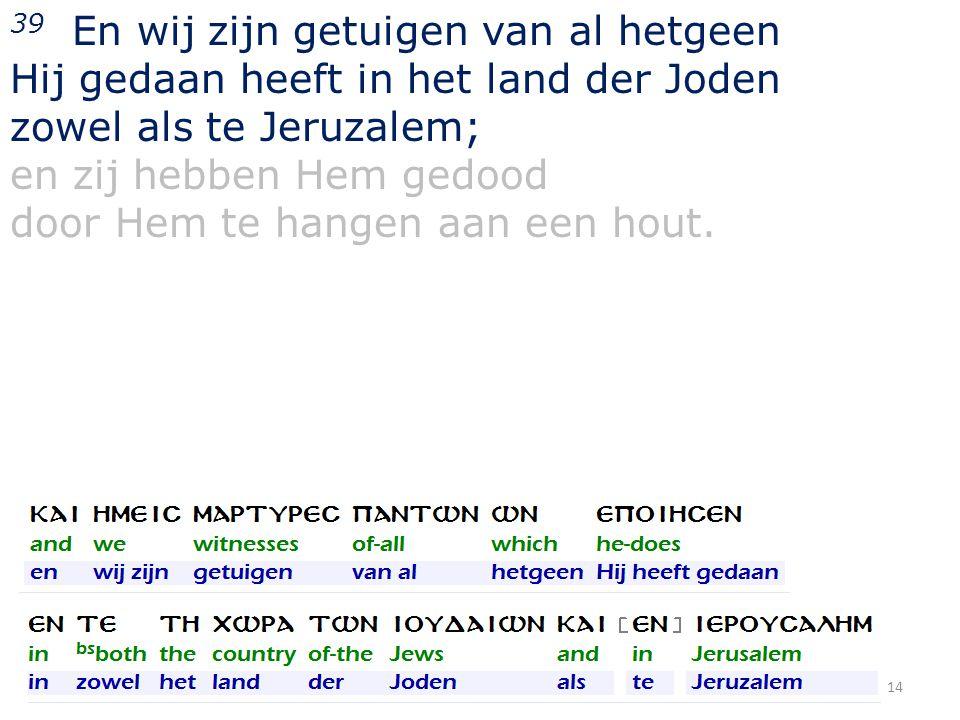 39 En wij zijn getuigen van al hetgeen Hij gedaan heeft in het land der Joden zowel als te Jeruzalem; en zij hebben Hem gedood door Hem te hangen aan
