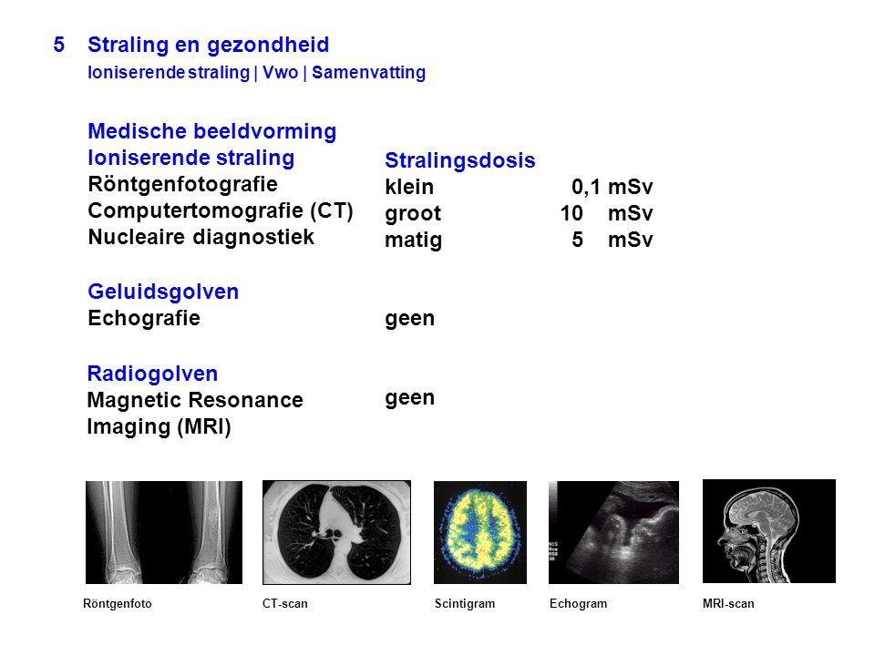 5Straling en gezondheid Ioniserende straling | Vwo | Samenvatting Medische beeldvorming Ioniserende straling Röntgenfotografie Computertomografie (CT)