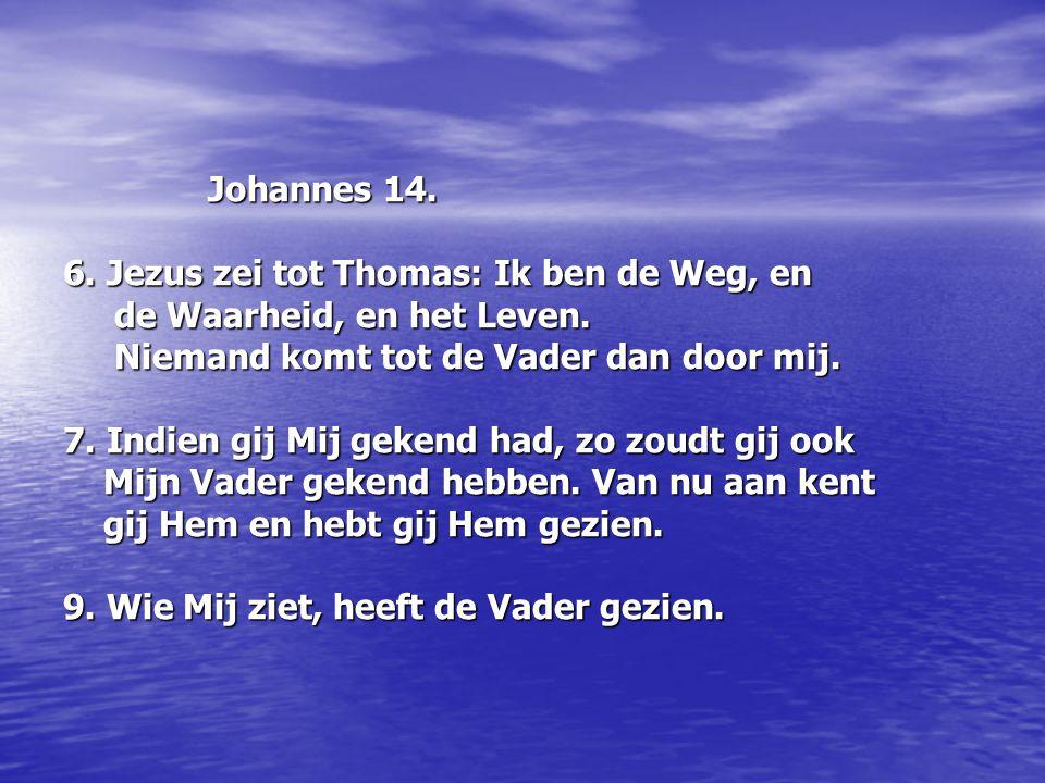 Johannes 14. Johannes 14. 6. Jezus zei tot Thomas: Ik ben de Weg, en de Waarheid, en het Leven. de Waarheid, en het Leven. Niemand komt tot de Vader d