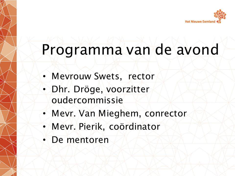 Programma van de avond Mevrouw Swets, rector Dhr. Dröge, voorzitter oudercommissie Mevr.