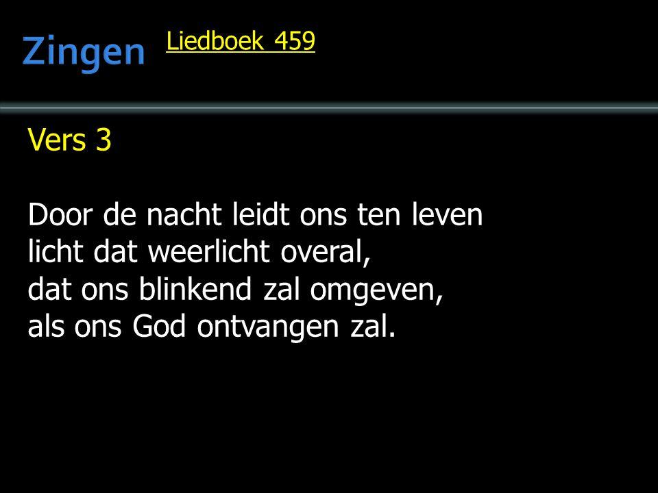 Vers 3 Door de nacht leidt ons ten leven licht dat weerlicht overal, dat ons blinkend zal omgeven, als ons God ontvangen zal. Liedboek 459