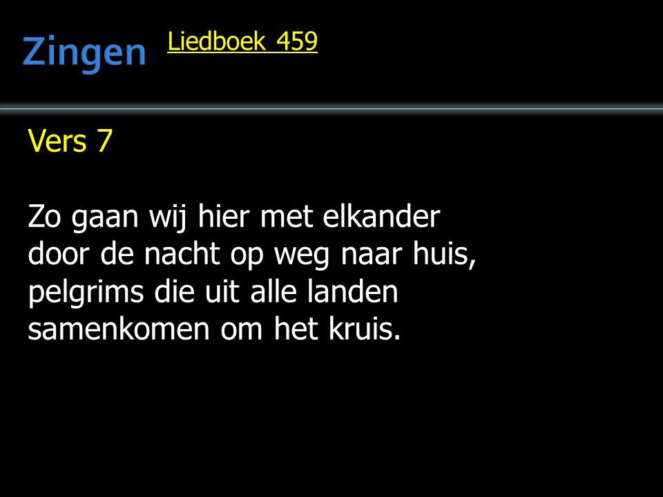 Vers 7 Zo gaan wij hier met elkander door de nacht op weg naar huis, pelgrims die uit alle landen samenkomen om het kruis. Liedboek 459