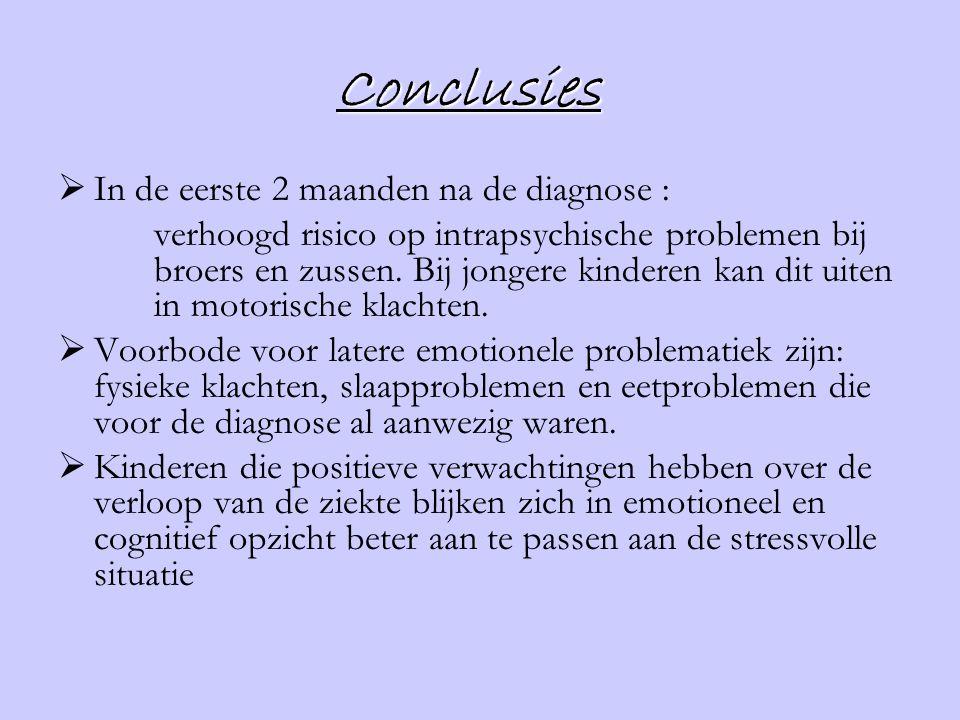 Conclusies  In de eerste 2 maanden na de diagnose : verhoogd risico op intrapsychische problemen bij broers en zussen. Bij jongere kinderen kan dit u