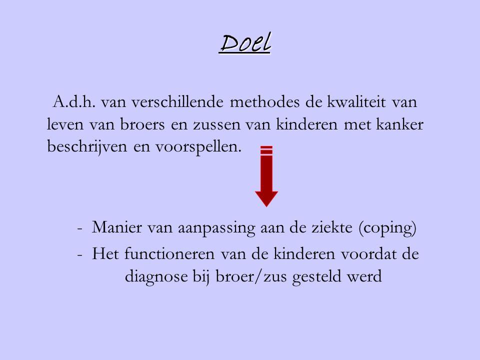 Doel A.d.h. van verschillende methodes de kwaliteit van leven van broers en zussen van kinderen met kanker beschrijven en voorspellen. - Manier van aa