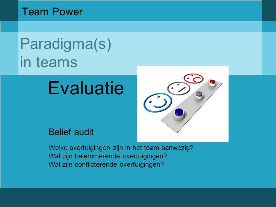 Paradigma(s) in teams Team Power Evaluatie Belief audit Welke overtuigingen zijn in het team aanwezig? Wat zijn belemmerende overtuigingen? Wat zijn c