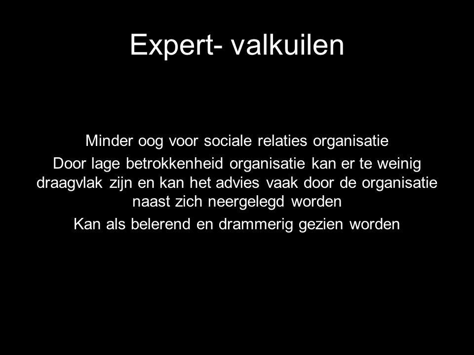 Expert- valkuilen Minder oog voor sociale relaties organisatie Door lage betrokkenheid organisatie kan er te weinig draagvlak zijn en kan het advies v