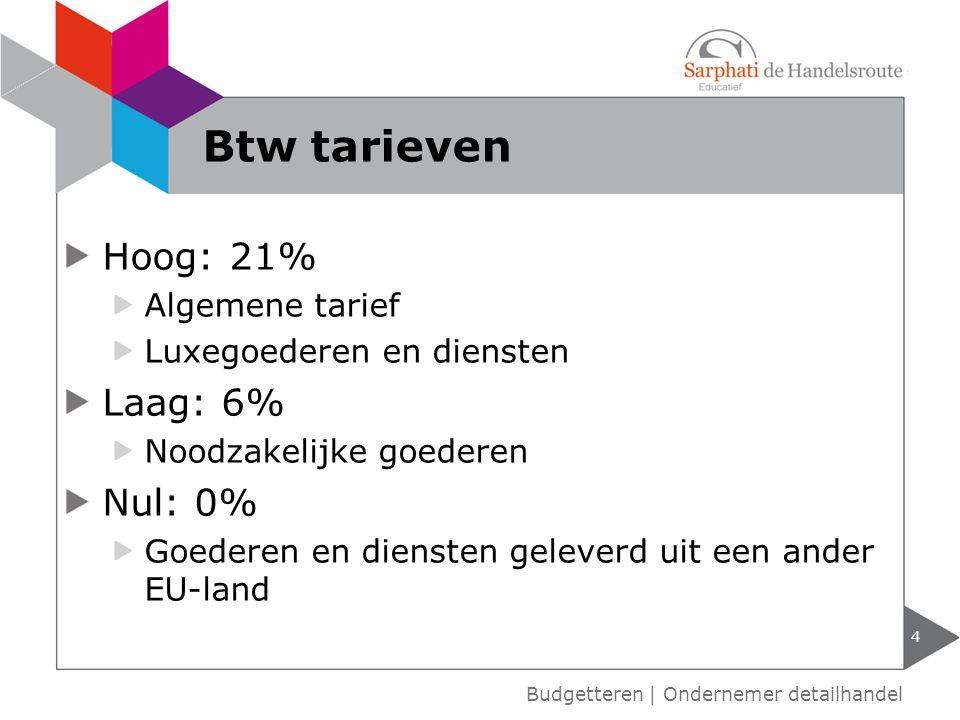 Hoog: 21% Algemene tarief Luxegoederen en diensten Laag: 6% Noodzakelijke goederen Nul: 0% Goederen en diensten geleverd uit een ander EU-land Budgett