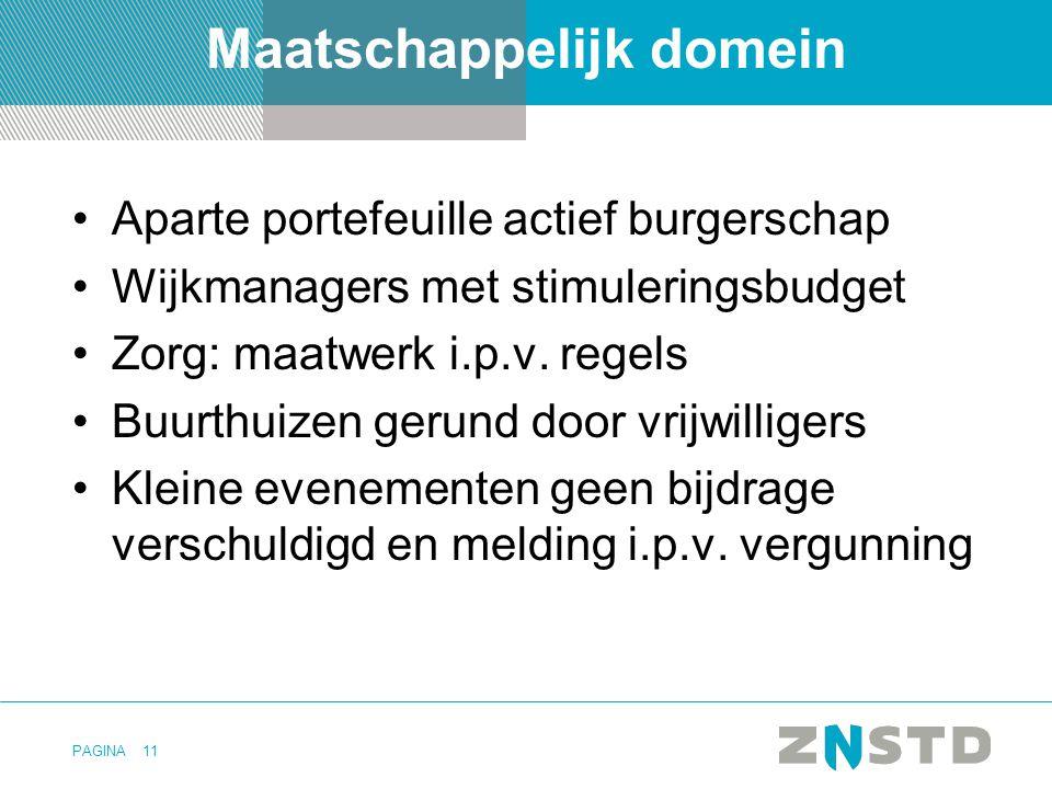 PAGINA Maatschappelijk domein Aparte portefeuille actief burgerschap Wijkmanagers met stimuleringsbudget Zorg: maatwerk i.p.v.