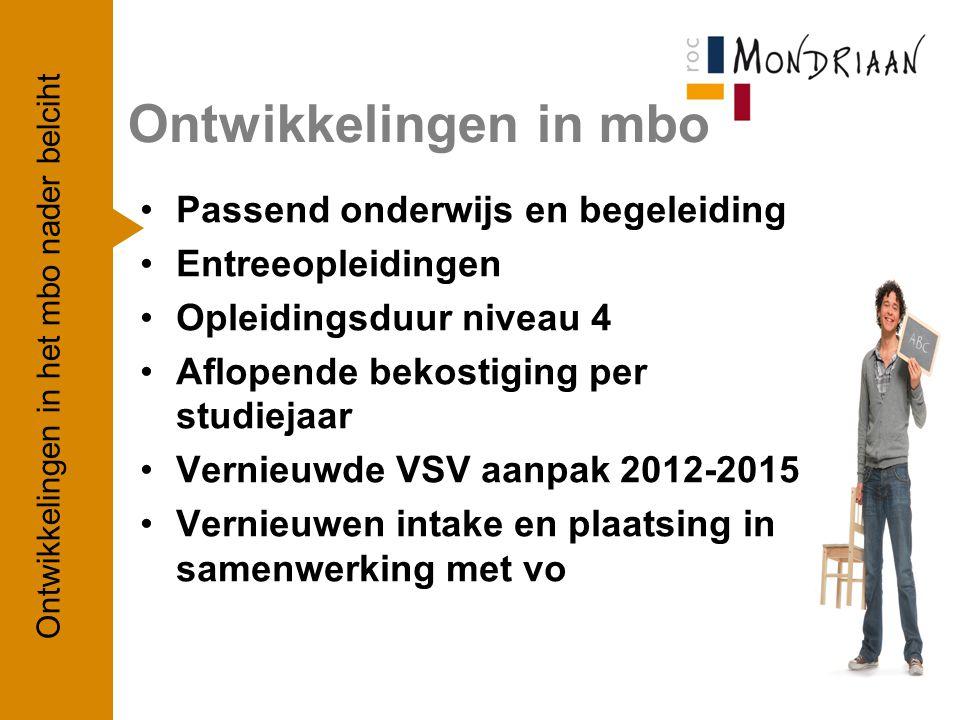 Ontwikkelingen in mbo Ontwikkelingen in het mbo nader belciht 2 Passend onderwijs en begeleiding Entreeopleidingen Opleidingsduur niveau 4 Aflopende b
