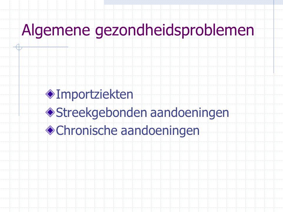 Algemene gezondheidsproblemen Importziekten Streekgebonden aandoeningen Chronische aandoeningen