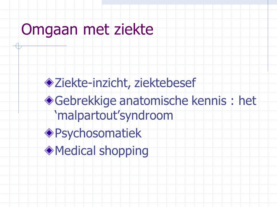 Omgaan met ziekte Ziekte-inzicht, ziektebesef Gebrekkige anatomische kennis : het 'malpartout'syndroom Psychosomatiek Medical shopping