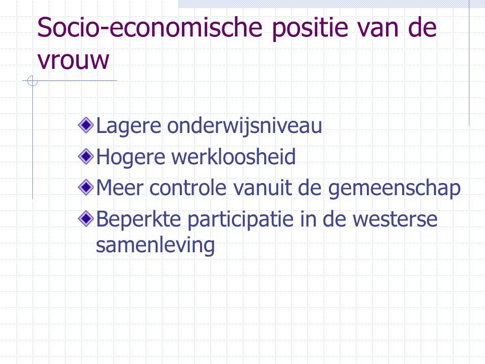 Socio-economische positie van de vrouw Lagere onderwijsniveau Hogere werkloosheid Meer controle vanuit de gemeenschap Beperkte participatie in de westerse samenleving