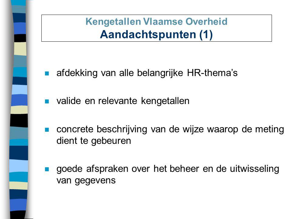 Kengetallen Vlaamse Overheid Aandachtspunten (1) n afdekking van alle belangrijke HR-thema's n valide en relevante kengetallen n concrete beschrijving van de wijze waarop de meting dient te gebeuren n goede afspraken over het beheer en de uitwisseling van gegevens