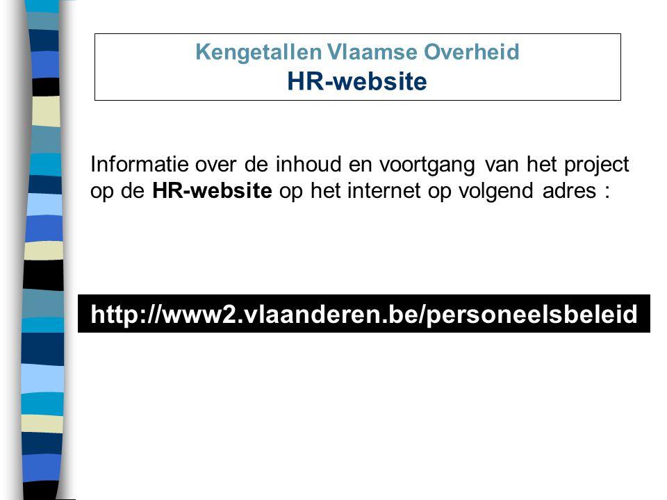Informatie over de inhoud en voortgang van het project op de HR-website op het internet op volgend adres : Kengetallen Vlaamse Overheid HR-website http://www2.vlaanderen.be/personeelsbeleid