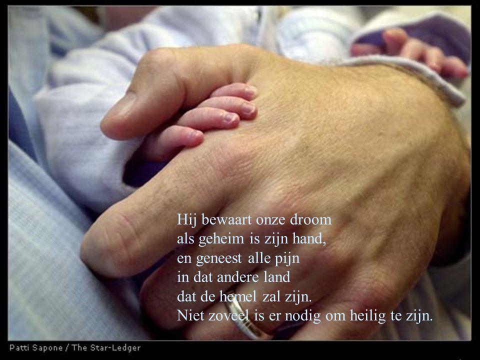 Hij bewaart onze droom als geheim is zijn hand, en geneest alle pijn in dat andere land dat de hemel zal zijn. Niet zoveel is er nodig om heilig te zi