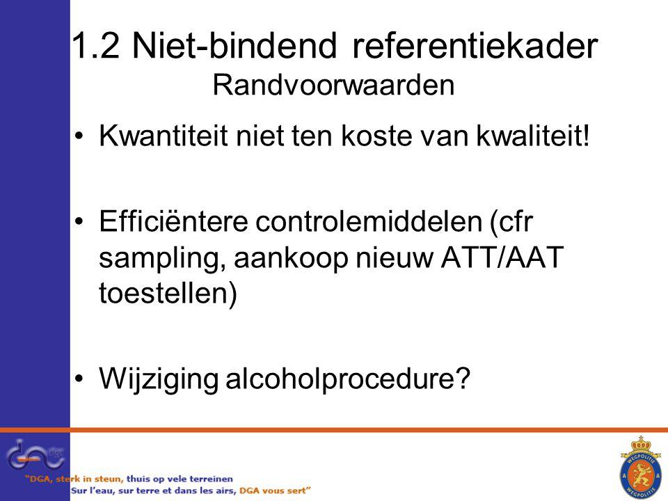 1.2 Niet-bindend referentiekader Randvoorwaarden Kwantiteit niet ten koste van kwaliteit.