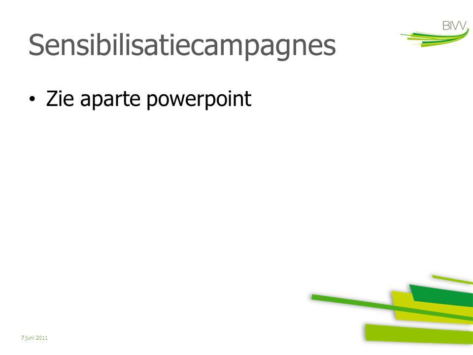 Sensibilisatiecampagnes Zie aparte powerpoint 7 juni 2011