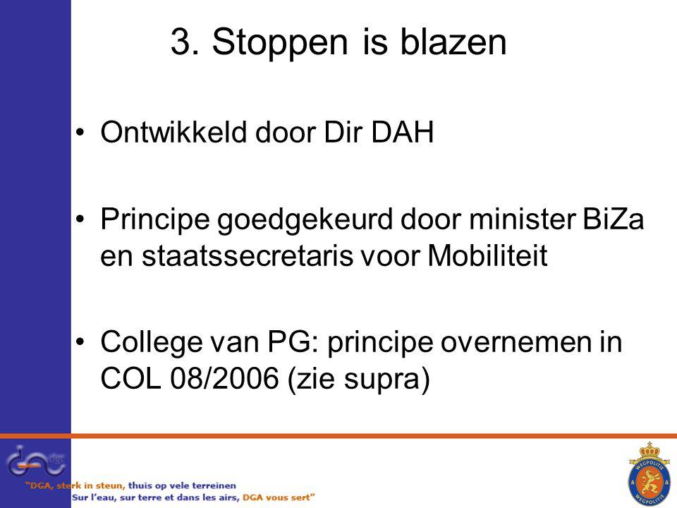 3. Stoppen is blazen Ontwikkeld door Dir DAH Principe goedgekeurd door minister BiZa en staatssecretaris voor Mobiliteit College van PG: principe over