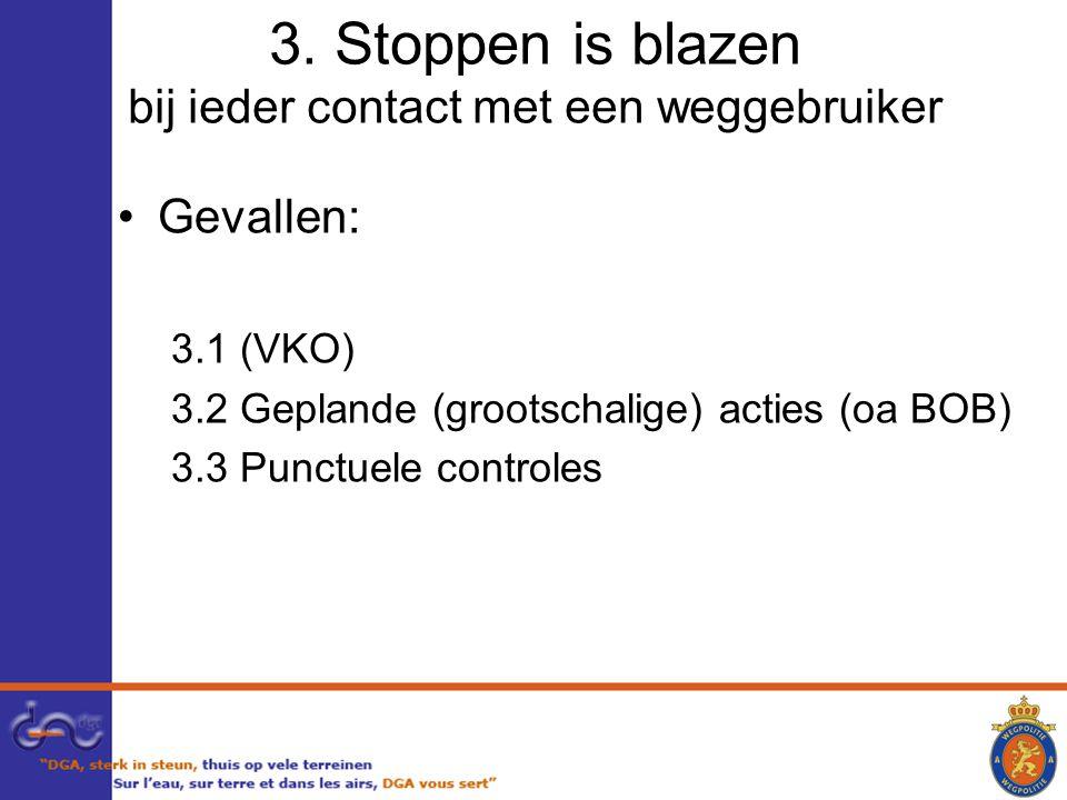 3. Stoppen is blazen bij ieder contact met een weggebruiker Gevallen: 3.1 (VKO) 3.2 Geplande (grootschalige) acties (oa BOB) 3.3 Punctuele controles