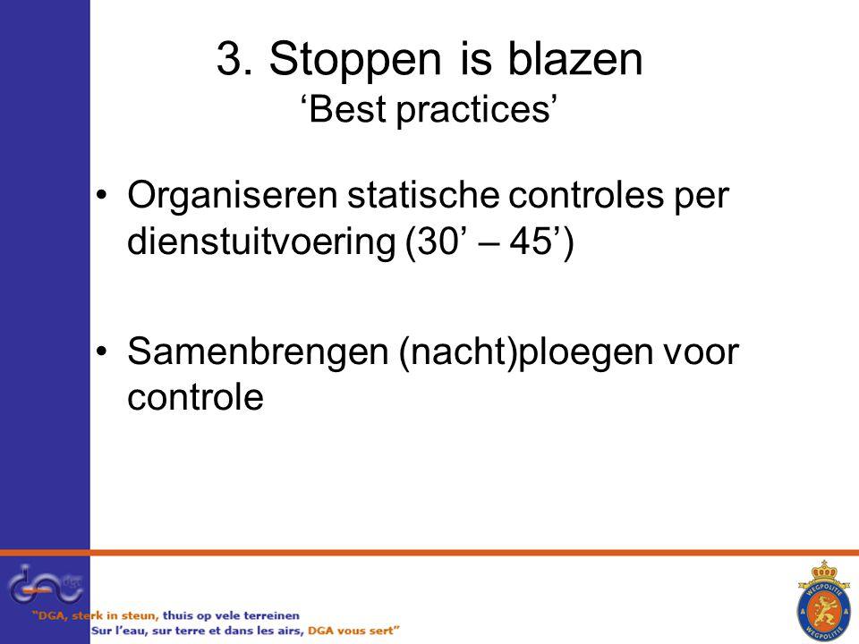 3. Stoppen is blazen 'Best practices' Organiseren statische controles per dienstuitvoering (30' – 45') Samenbrengen (nacht)ploegen voor controle