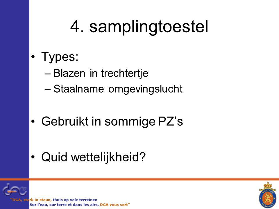 4. samplingtoestel Types: –Blazen in trechtertje –Staalname omgevingslucht Gebruikt in sommige PZ's Quid wettelijkheid?