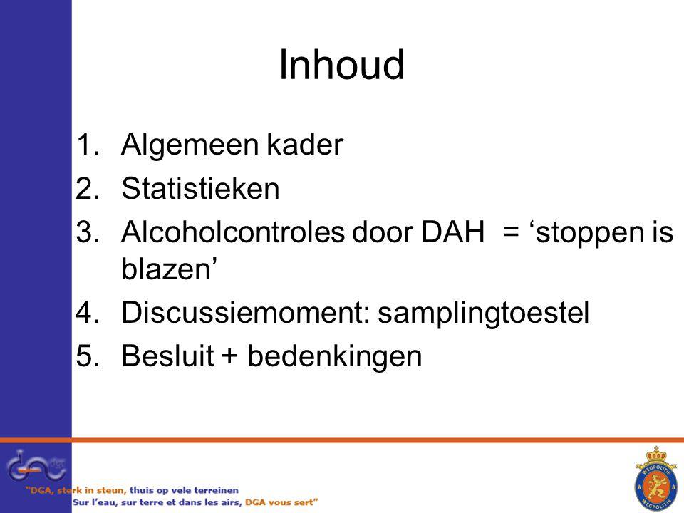 Inhoud 1.Algemeen kader 2.Statistieken 3.Alcoholcontroles door DAH = 'stoppen is blazen' 4.Discussiemoment: samplingtoestel 5.Besluit + bedenkingen
