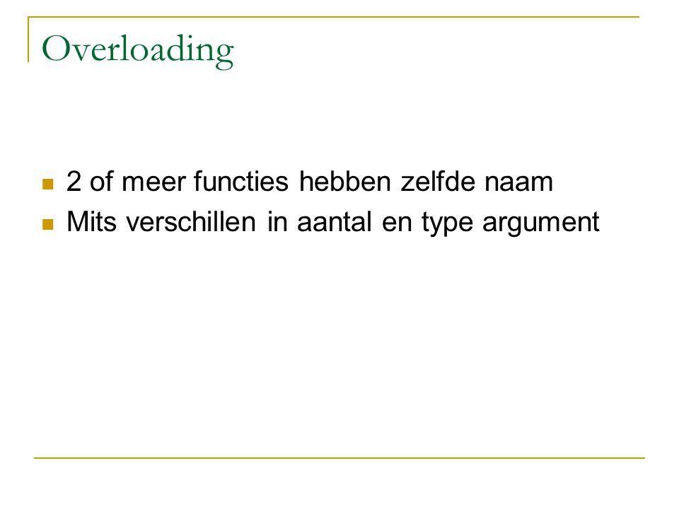 Overloading 2 of meer functies hebben zelfde naam Mits verschillen in aantal en type argument