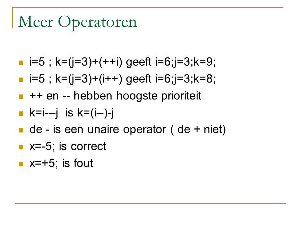 Meer operatoren assignment operatoren: += -= *= /= x = x*3; is identiek aan x*=3; hebben de laagste priotiteit i-=j + k; is identiek aan i-=(j+k); is identiek aan i= i - (j+k);