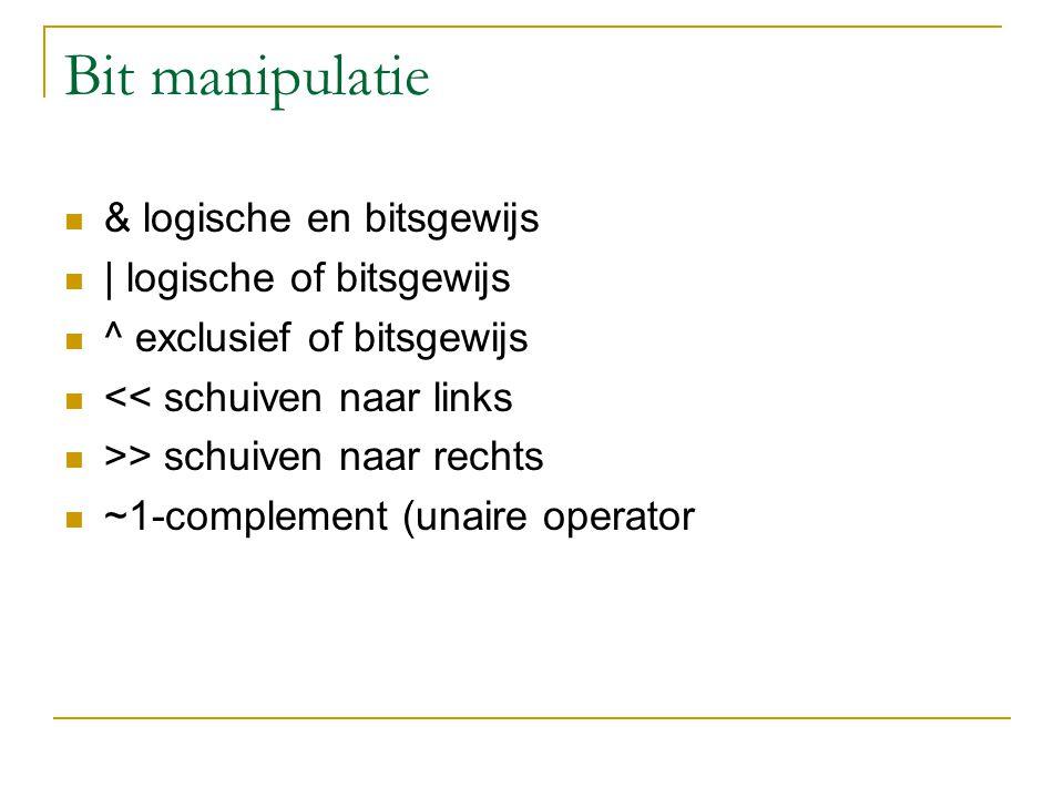 Bitmanipulatie 23 & 26 logisch and binair: 00010111 = 23 ( 8bit) 00011010 = 26 ( 8 bit) -------------------- & 00010010 = 18 ( 8bit)