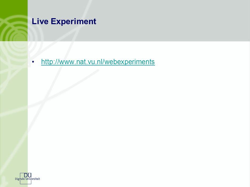 Live Experiment http://www.nat.vu.nl/webexperiments
