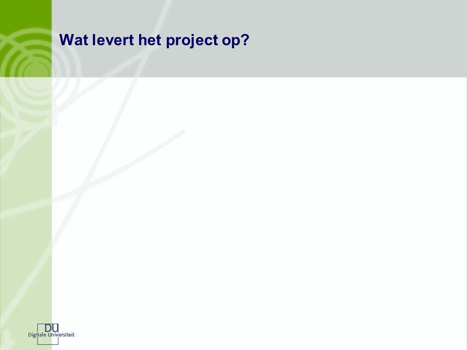 Wat levert het project op?