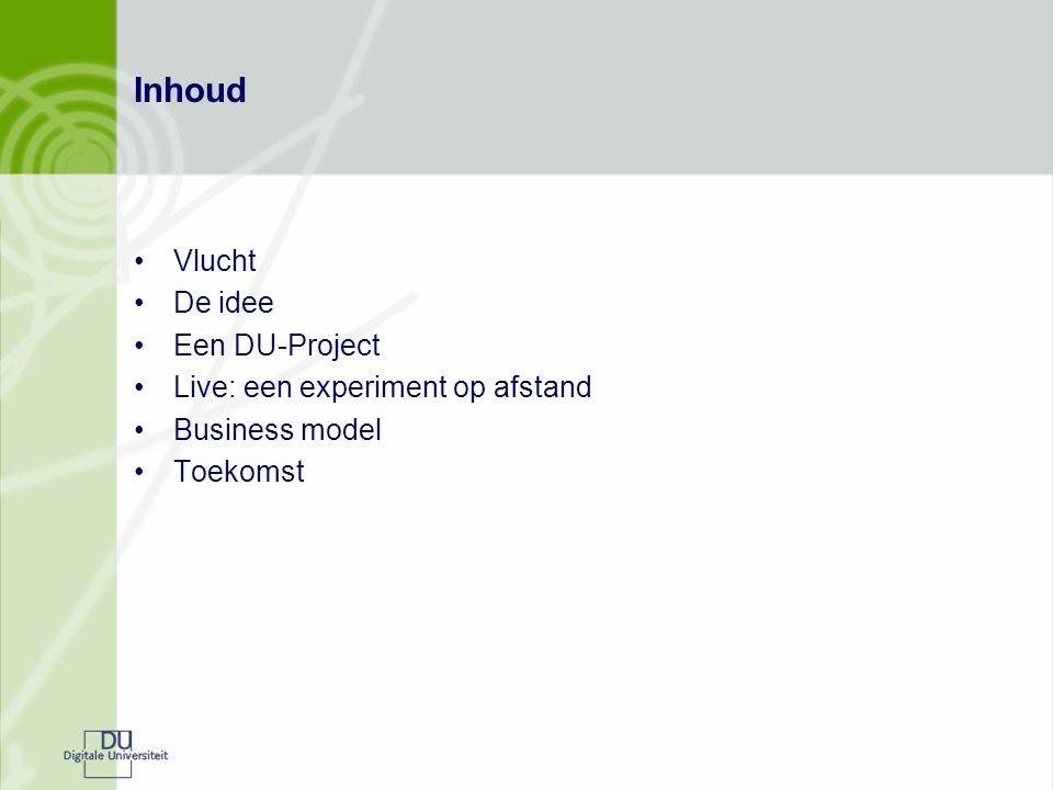 Inhoud Vlucht De idee Een DU-Project Live: een experiment op afstand Business model Toekomst