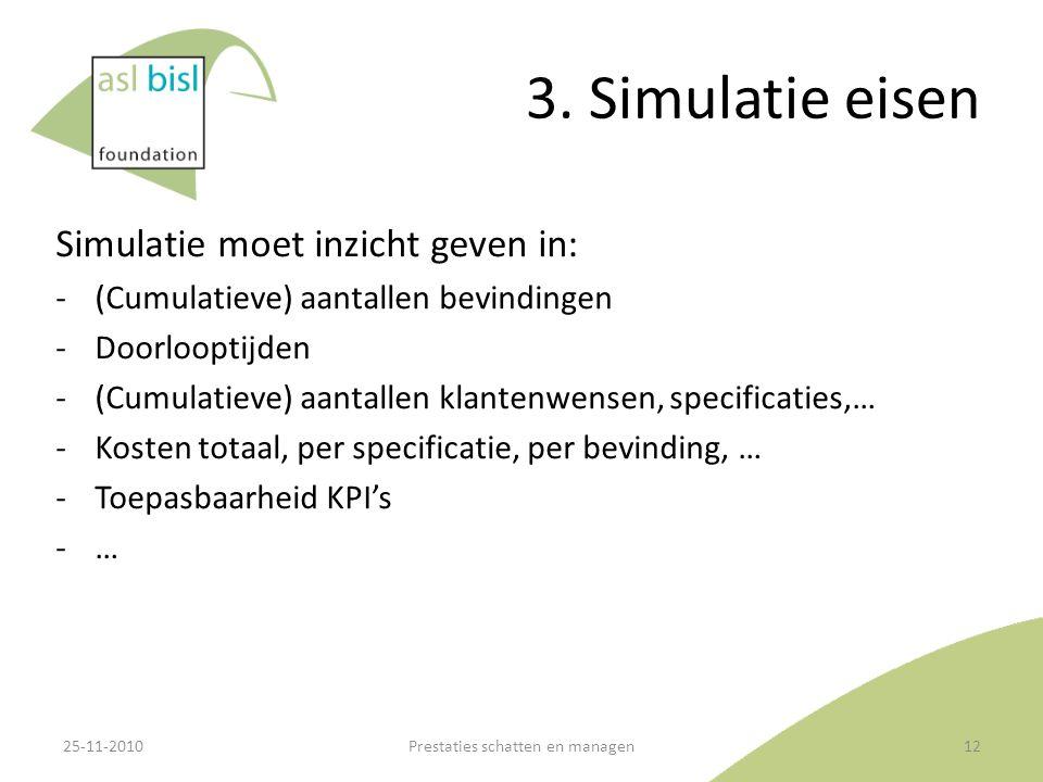 3. Simulatie eisen Simulatie moet inzicht geven in: ‐(Cumulatieve) aantallen bevindingen ‐Doorlooptijden ‐(Cumulatieve) aantallen klantenwensen, speci