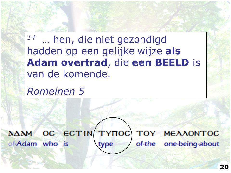 14 … hen, die niet gezondigd hadden op een gelijke wijze als Adam overtrad, die een BEELD is van de komende. Romeinen 5 20