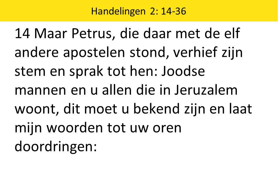 14 Maar Petrus, die daar met de elf andere apostelen stond, verhief zijn stem en sprak tot hen: Joodse mannen en u allen die in Jeruzalem woont, dit m