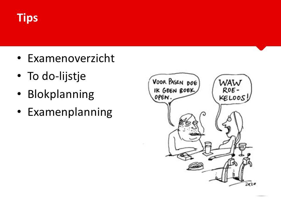 Examenoverzicht To do-lijstje Blokplanning Examenplanning Tips