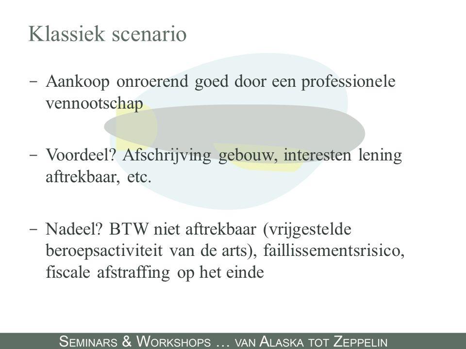 Klassiek scenario - Aankoop onroerend goed door een professionele vennootschap - Voordeel? Afschrijving gebouw, interesten lening aftrekbaar, etc. - N