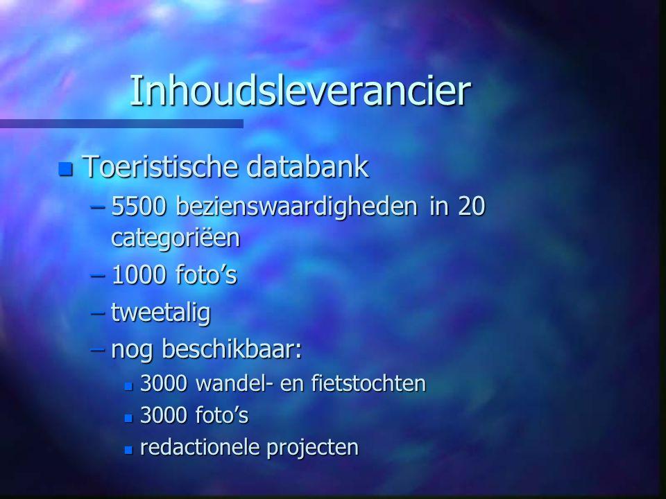 Inhoudsleverancier n Toeristische databank –5500 bezienswaardigheden in 20 categoriëen –1000 foto's –tweetalig –nog beschikbaar: n 3000 wandel- en fietstochten n 3000 foto's n redactionele projecten