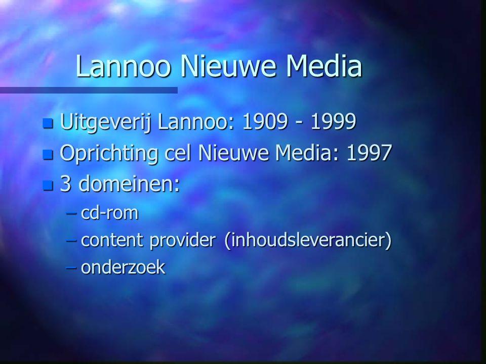 Lannoo Nieuwe Media n Uitgeverij Lannoo: 1909 - 1999 n Oprichting cel Nieuwe Media: 1997 n 3 domeinen: –cd-rom –content provider (inhoudsleverancier) –onderzoek