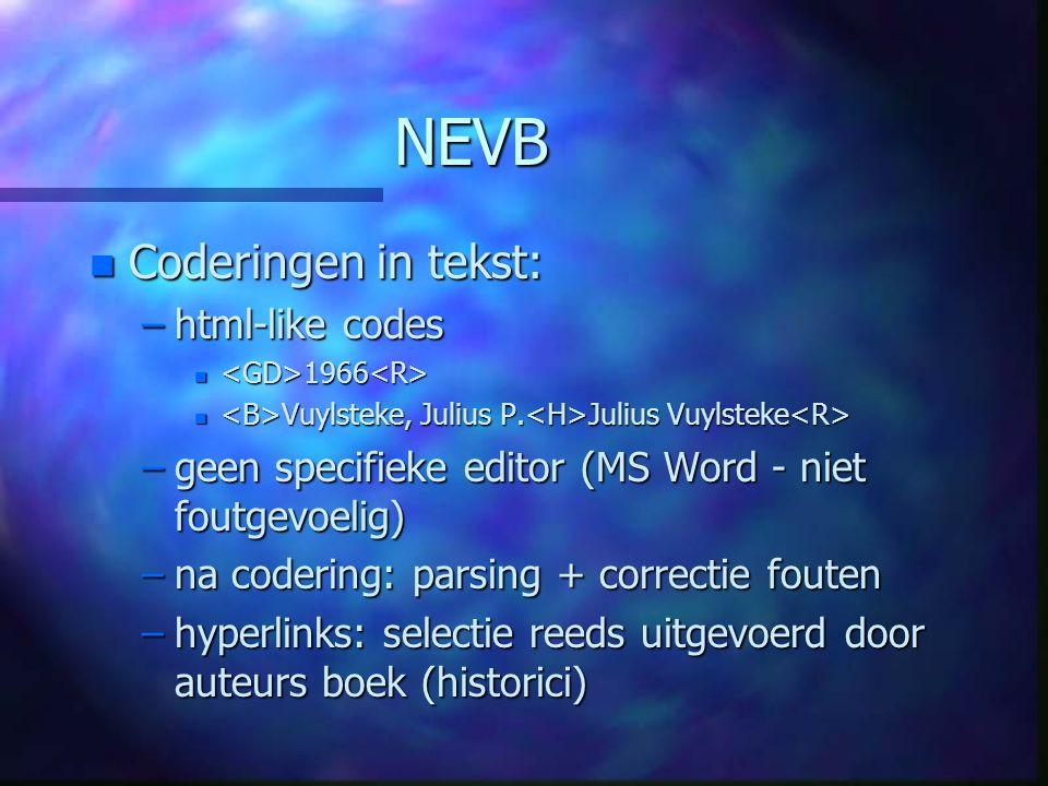 NEVB n Coderingen in tekst: –html-like codes n 1966 n 1966 n Vuylsteke, Julius P.