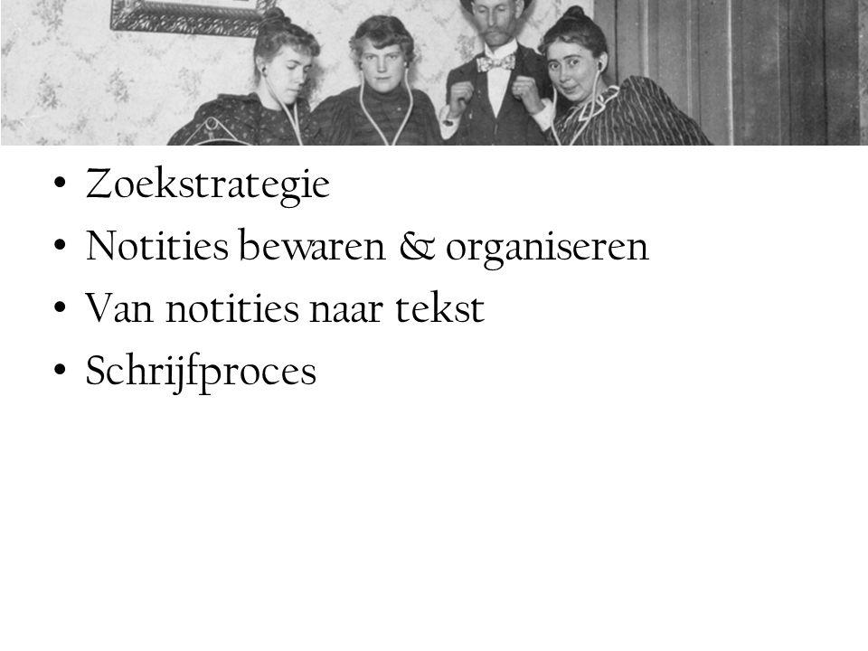 Zoekstrategie Notities bewaren & organiseren Van notities naar tekst Schrijfproces