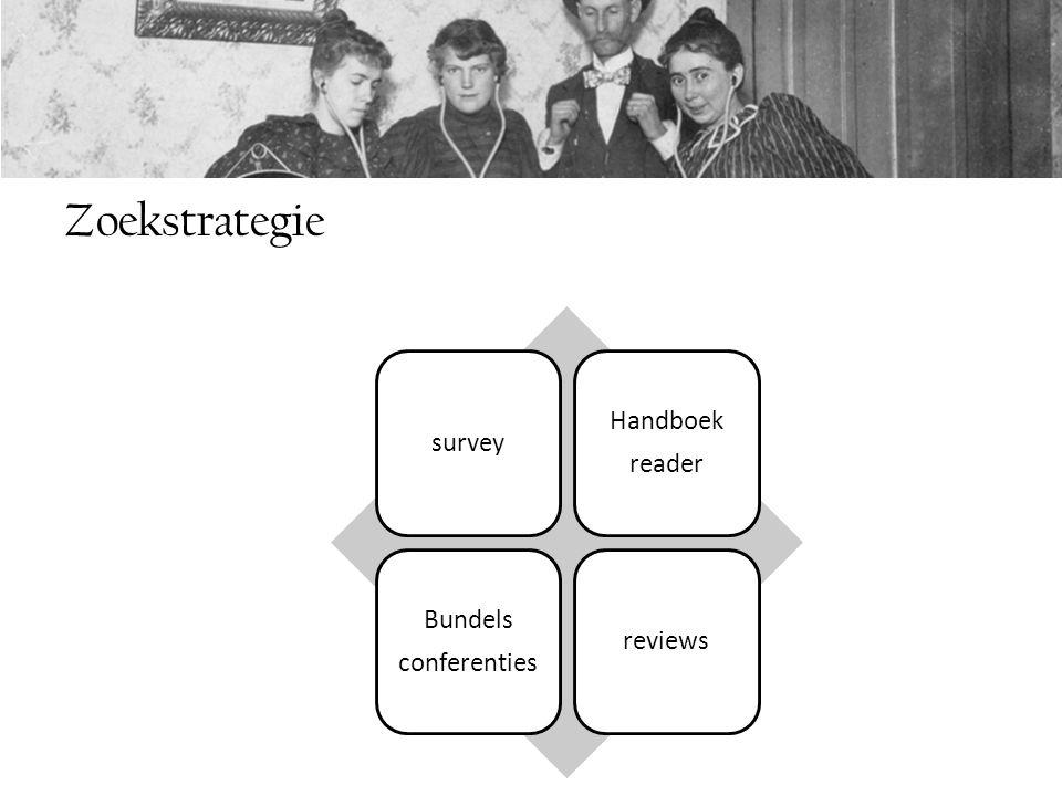 Zoekstrategie survey Handboek reader Bundels conferenties reviews