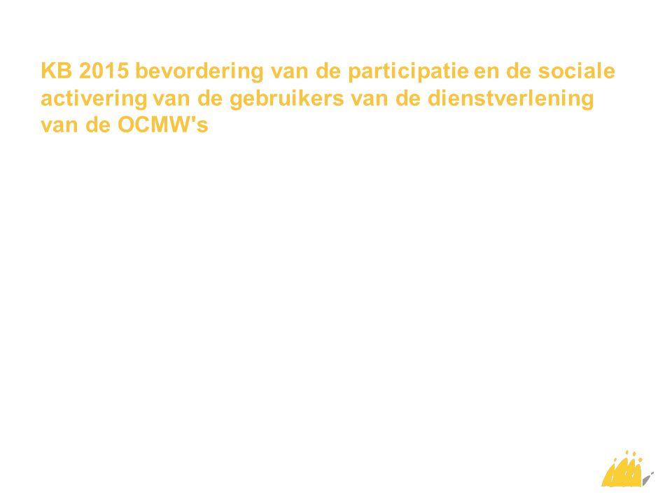 KB 2015 bevordering van de participatie en de sociale activering van de gebruikers van de dienstverlening van de OCMW's