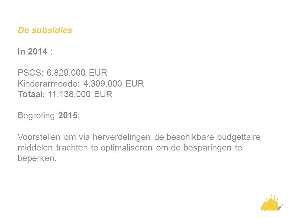 De subsidies In 2014 : PSCS: 6.829.000 EUR Kinderarmoede: 4.309.000 EUR Totaal: 11.138.000 EUR Begroting 2015: Voorstellen om via herverdelingen de be